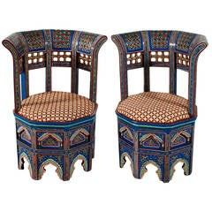 Pair of Moroccan Painted and Gilded Chairs