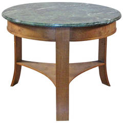 1940s-1950s Circular Oak Center Table with Green Marble Top