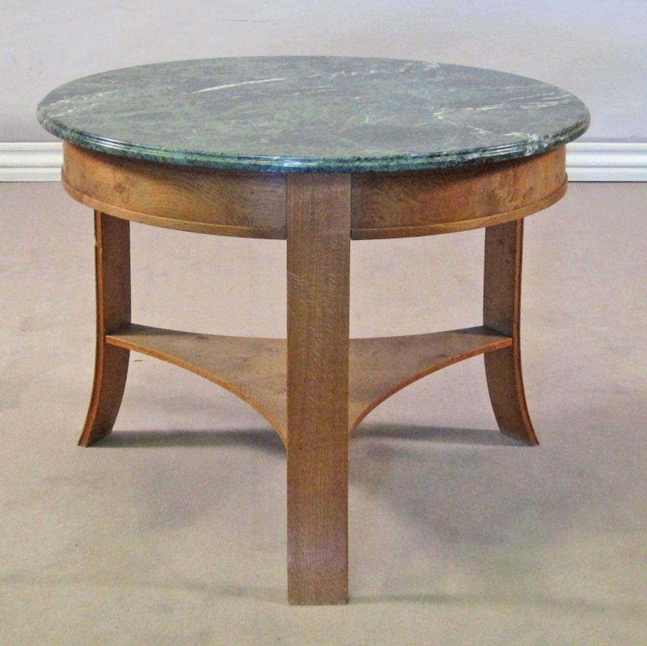 1940s1950s circular oak center table with green marble top 2