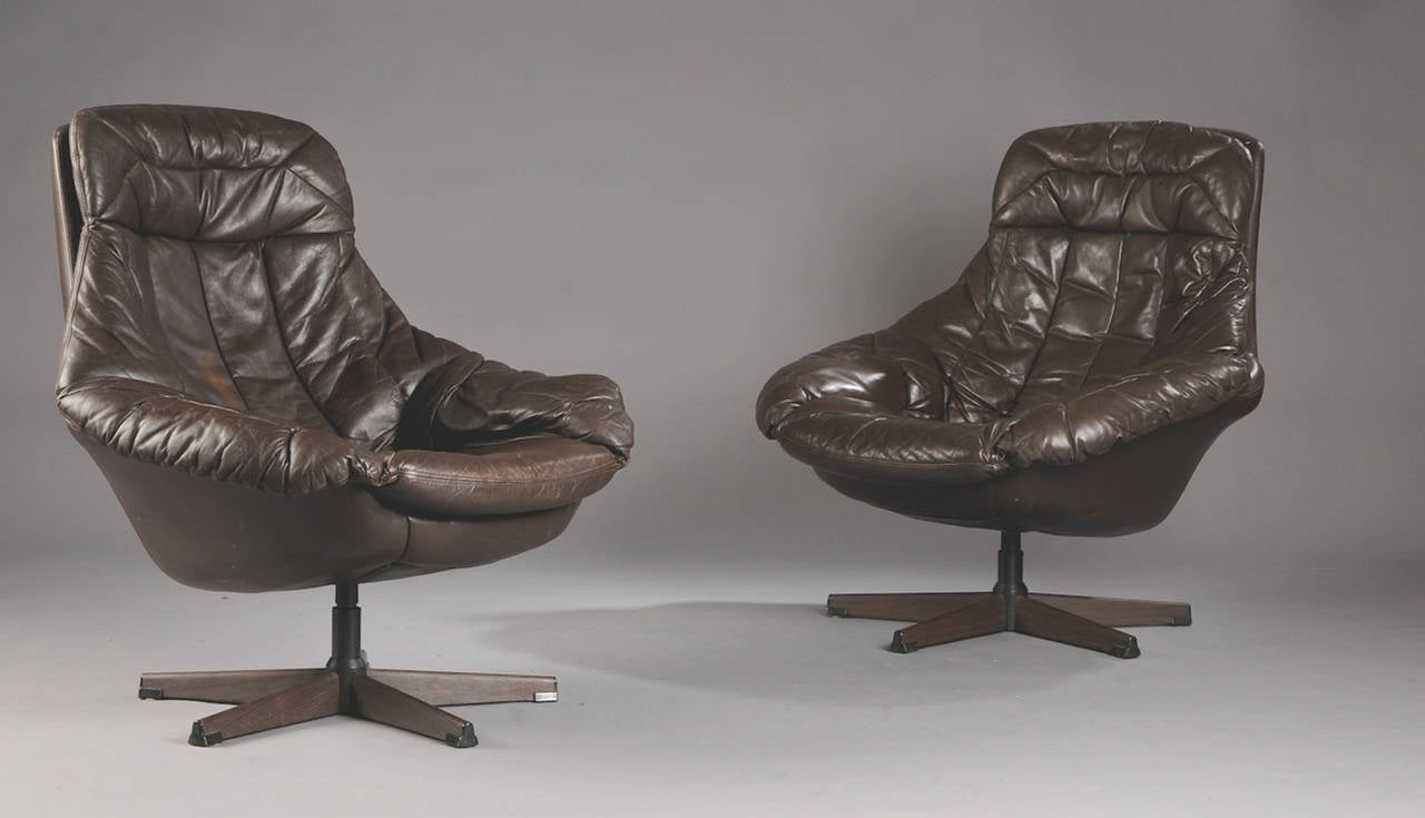 pair of danish 1960s brown leather swivel chairs by h w klein image 3