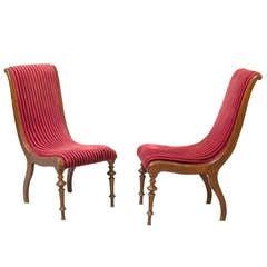 Napoleon Iii Slipper Chair In Green Velvet For Sale At 1stdibs