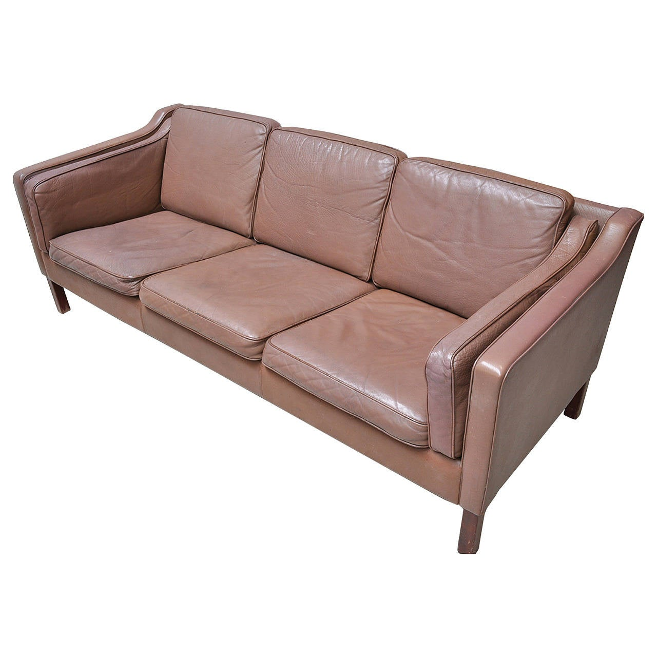 danish 1960s sofa upholstered in chocolate colored leather at 1stdibs. Black Bedroom Furniture Sets. Home Design Ideas