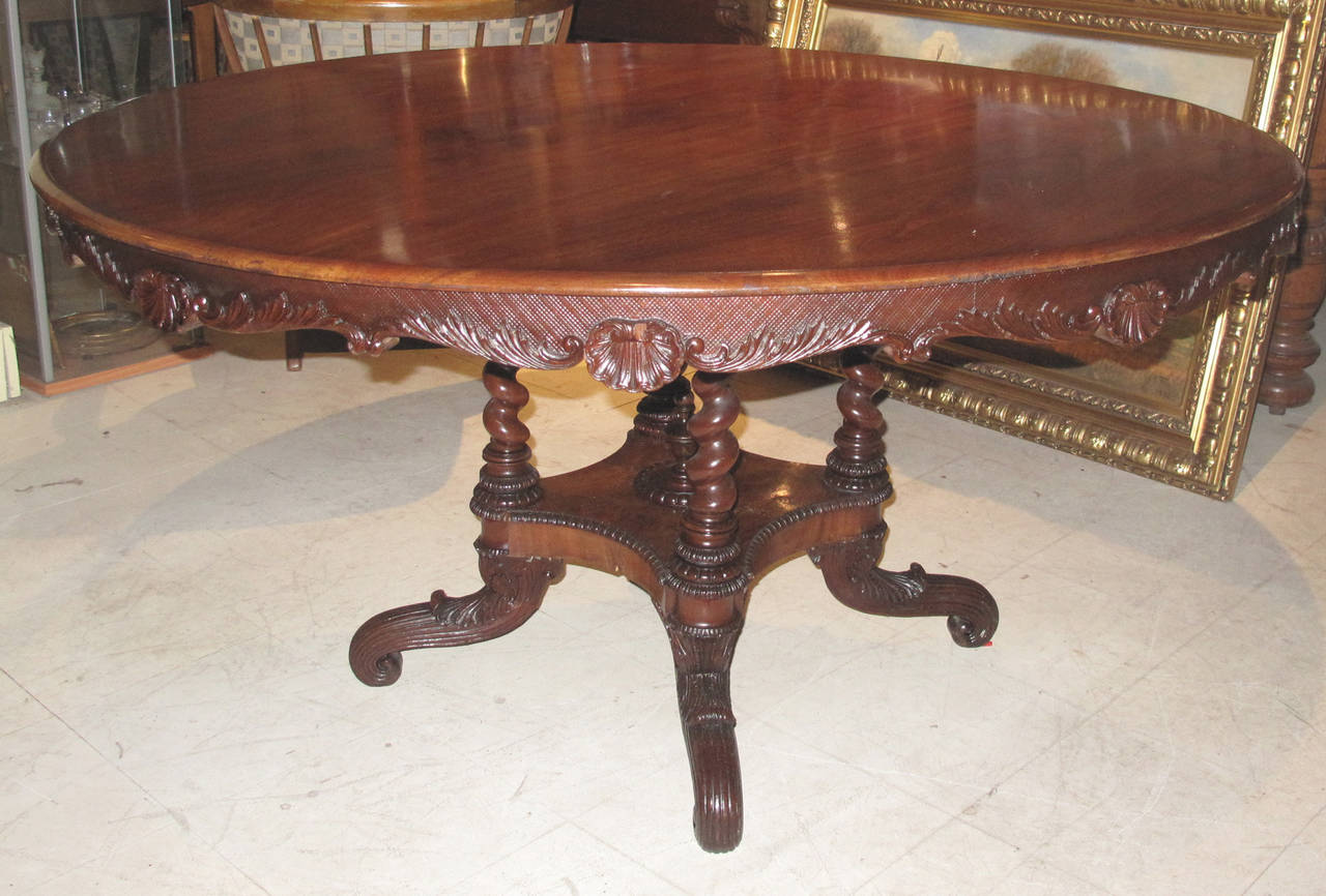 Rococo Revival 19th Century Danish Carved Mahogany Centre Table For Sale