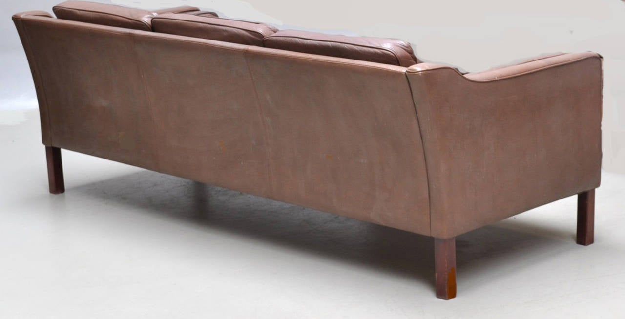 Danish 1960s Sofa Upholstered In Chocolate Colored Leather