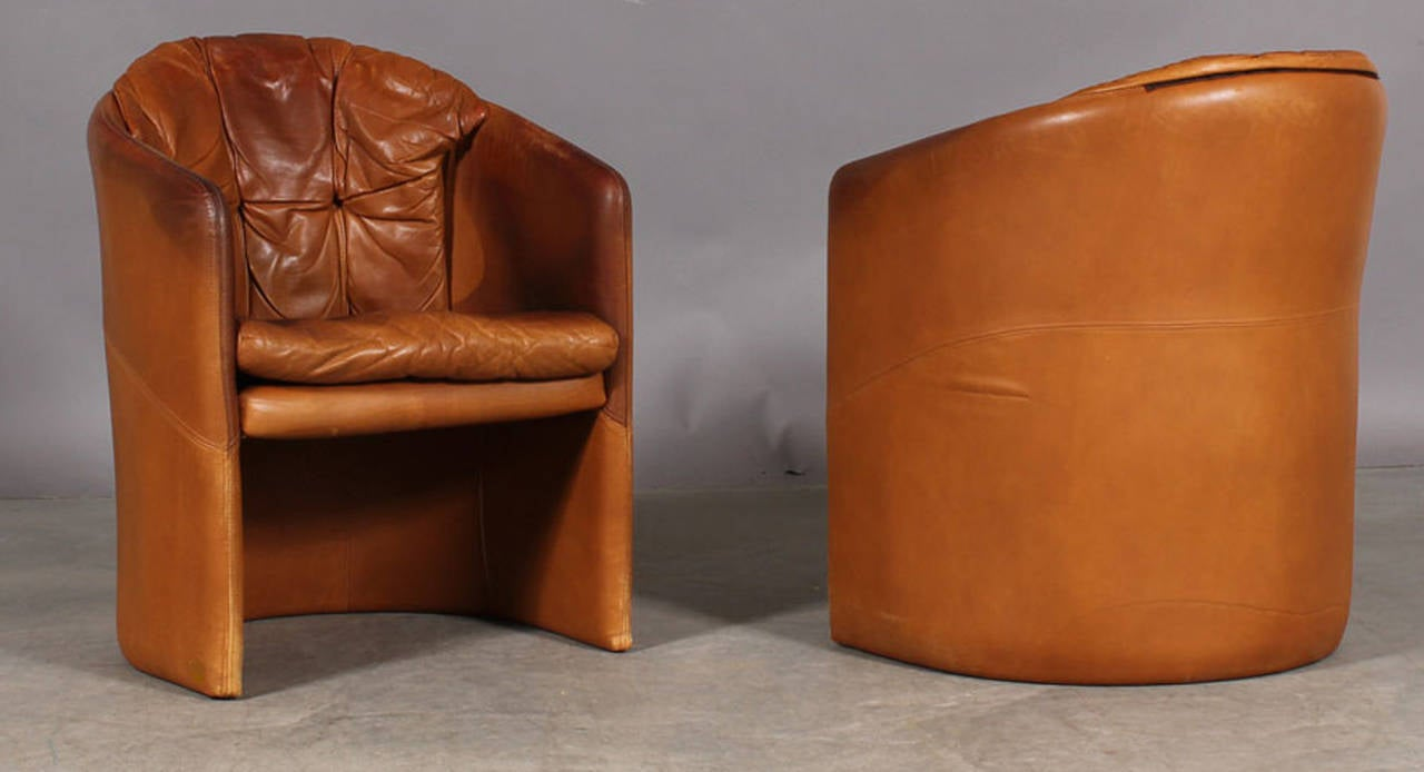 Pair of Danish 1960s Small Leather Upholstered Tub Chairs at 1stdibs