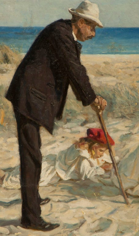 Classic  Danish Skagen School painting depicting a family on the beach at Skagen, the northernmost point of Denmark.  Professor Irminger was one of the well-known artists who founded the Skagen School or Art, the most famous of which is Peter