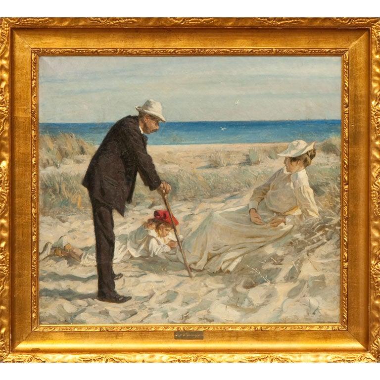 Beach Scene by Prof. Valdemar Irminger For Sale