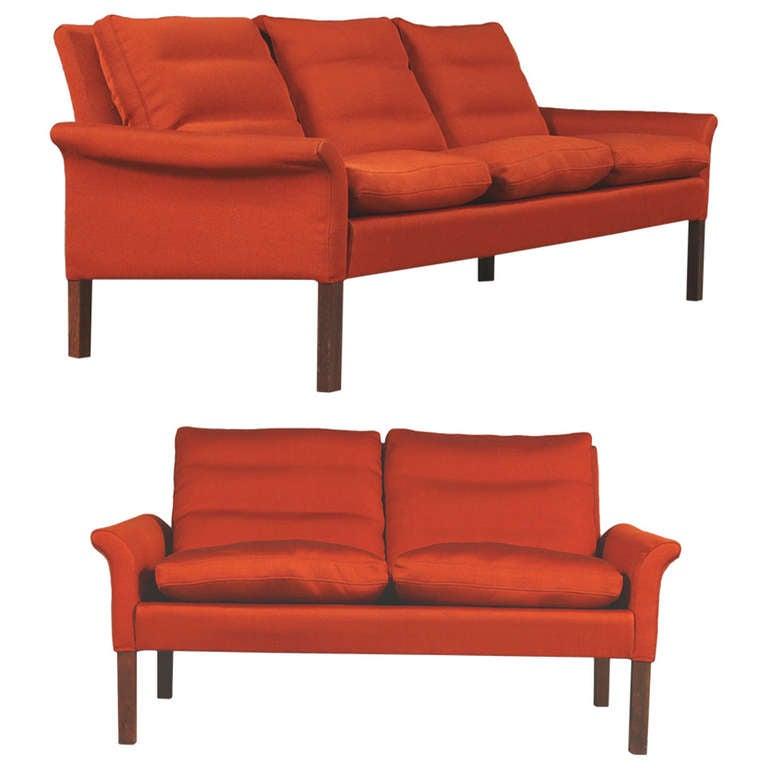 Danish modern settee and love seat by hans olsen at 1stdibs for Danish modern settee
