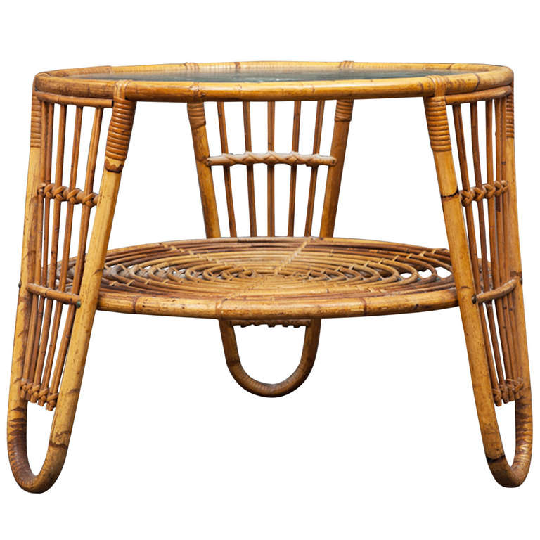 Danish Modern Rattan Coffee Low Table For Sale At 1stdibs