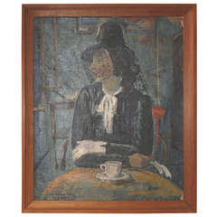 1930s Painting of a Woman in a Cafe by Danish Painter Harald Isenstein