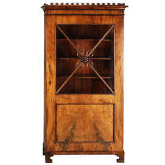 Danish Small 19th Century Figured Walnut Bookcase