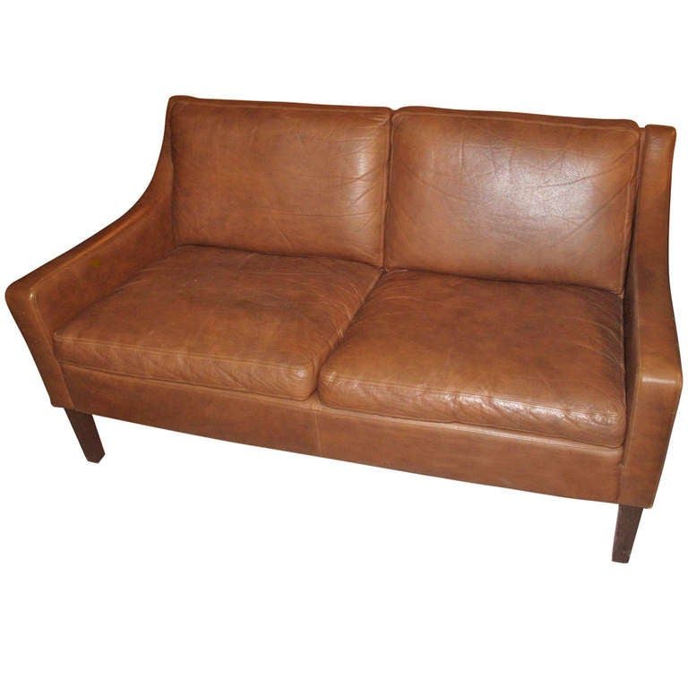 Danish Modern Small Scale Loveseat Upholstered In Leather At 1stdibs