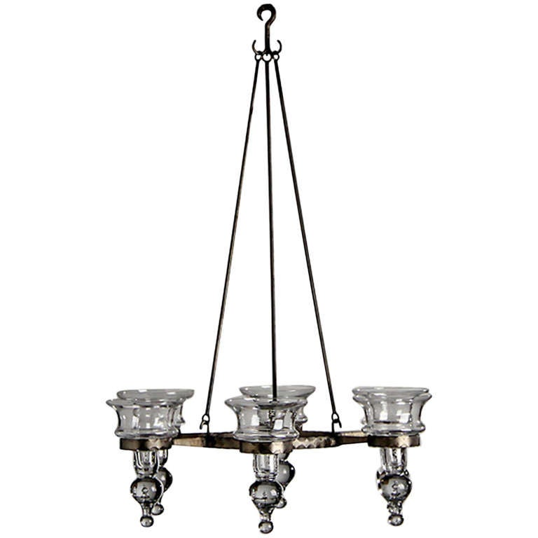 Scandinavian wrought chandelier with glass bobeches for sale at 1stdibs scandinavian wrought chandelier with glass bobeches for sale aloadofball Choice Image