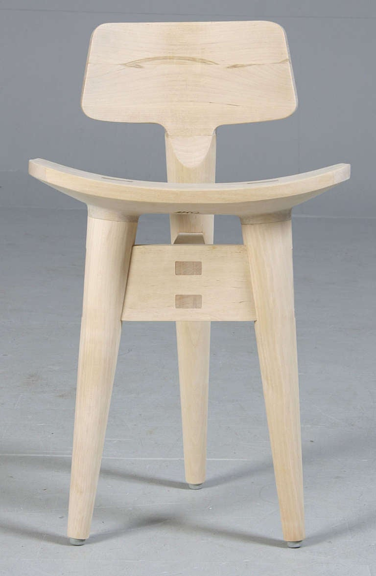 Danish Modern Carved and Joined Birch Sculptor's Stool by Jens Harald Quistgaard.  Branded on the bottom IHQ.