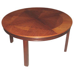 Danish Mahogany Circular Coffee or Low Table with Patterned Top