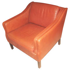 Large-Scale Danish Leather Upholstered Club Chair