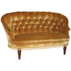 Danish Victorian Style Tufted Back Loveseat