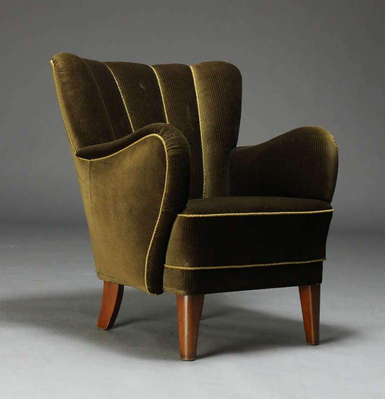 Danish 1940 39 s upholstered armchair at 1stdibs for 1940s furniture design