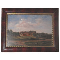 Small Early 19th Century Danish Framed Landscape Painting