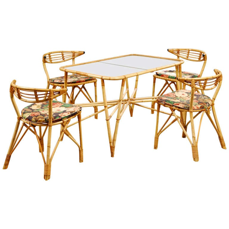 Danish 1940s 5-Piece Rattan Dining Set