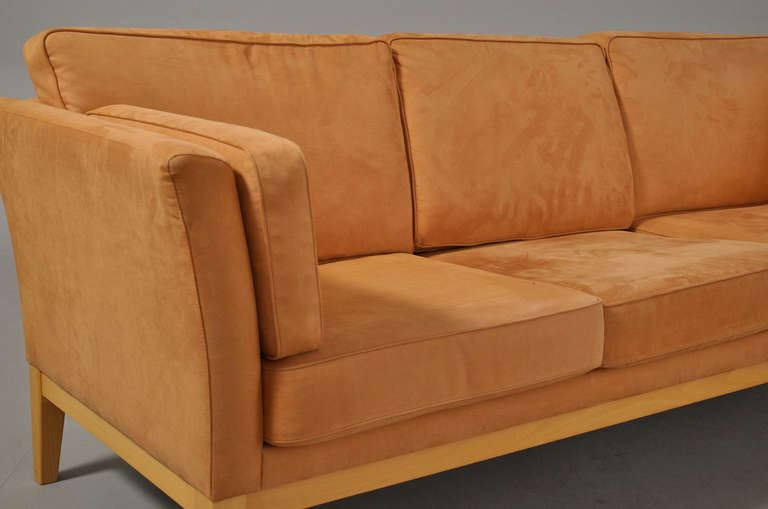 Mid Century Modern Danish Modern Sofa Upholstered In Ultra Suede For Sale