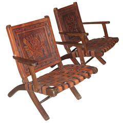Pair of 1970s Folding Armchairs with Hand Tooled Aztec Designs