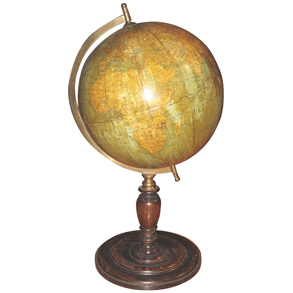 1920s Table Top Globe On Turned Oak Base By George Philips Of London 1