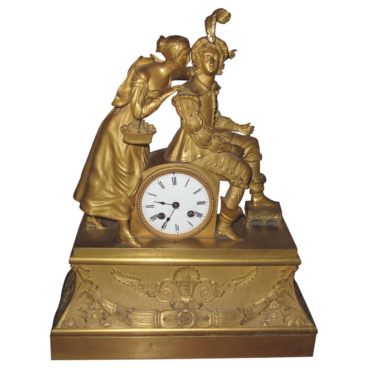 French Empire Ormolu Figural Mantel Clock