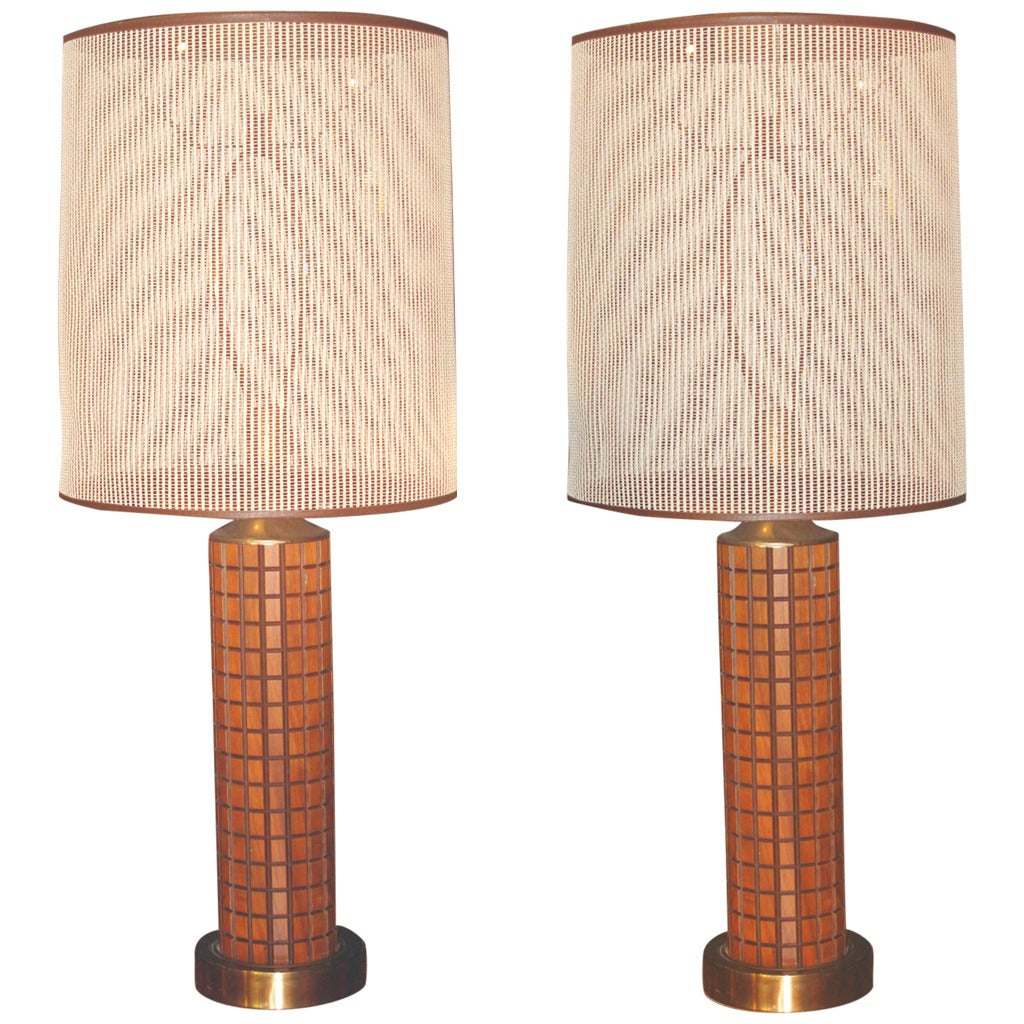 Pair of Early 1960s Walnut and Brass Mounted 1964 World's Fair Lamps