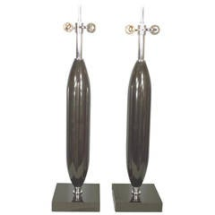 Pair of Large Sculptural Solid Black Marble and Chrome Lamps, circa 1970s