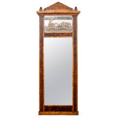 19th Century Neoclassical Pedimented Pier Mirror