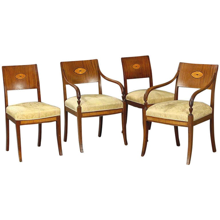 Set of Four 19th Century Neoclassical Inlaid Danish Dining Chairs For Sale