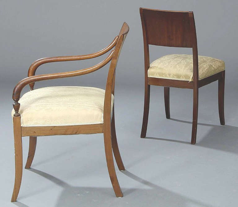 Mahogany Set of Four 19th Century Neoclassical Inlaid Danish Dining Chairs For Sale