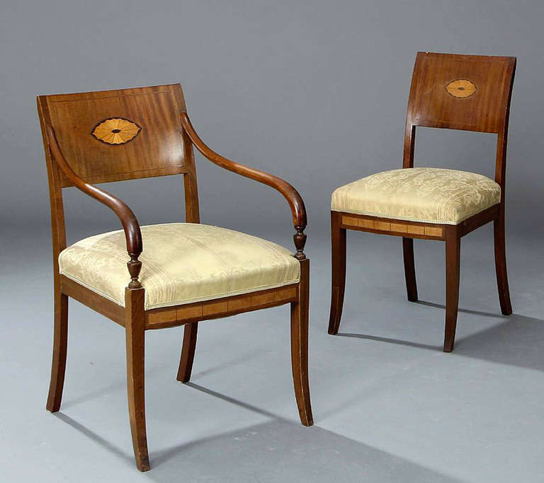 Set of Four 19th Century Neoclassical Inlaid Danish Dining Chairs In Good Condition For Sale In Hudson, NY