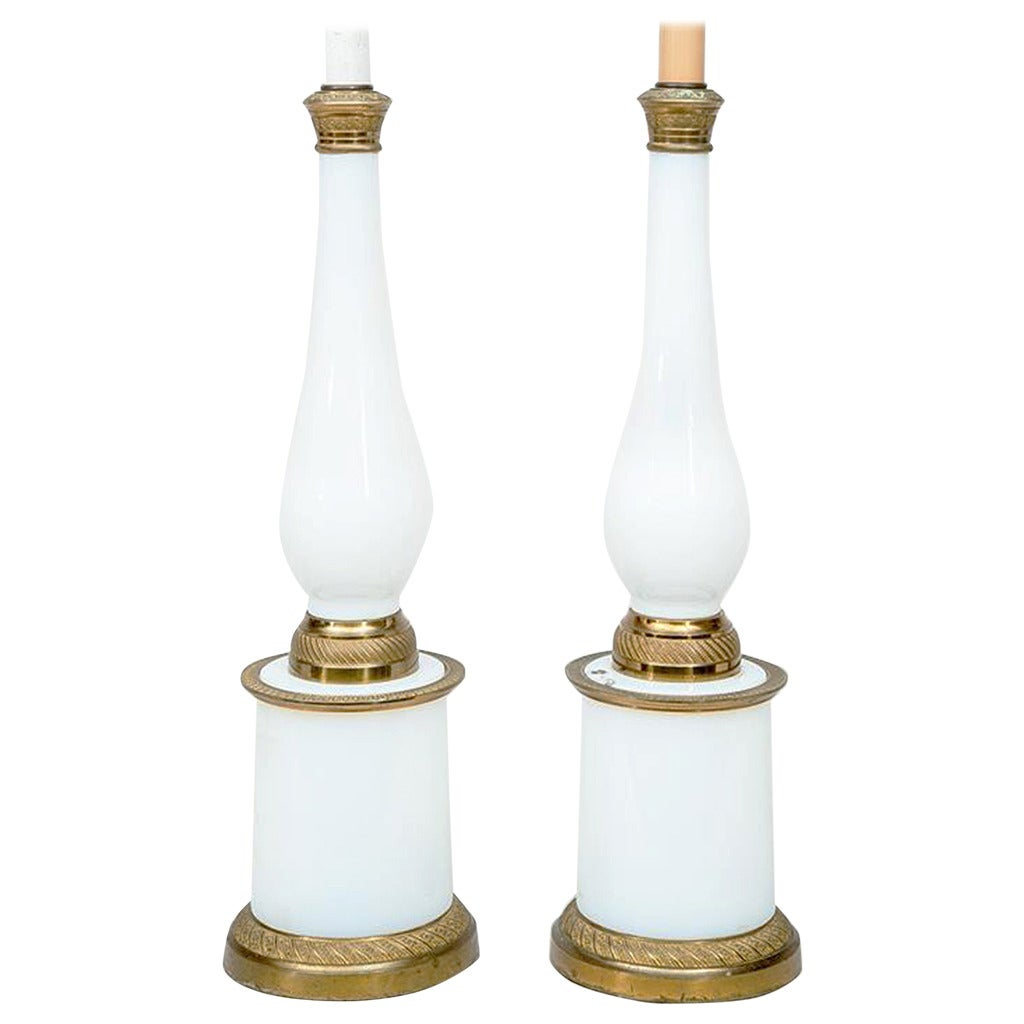 Pair of French 19th Century Opaline Glass and Gilt-Metal Table Lamps