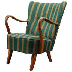 Danish 1940s Open Armchair in Striped Fabric