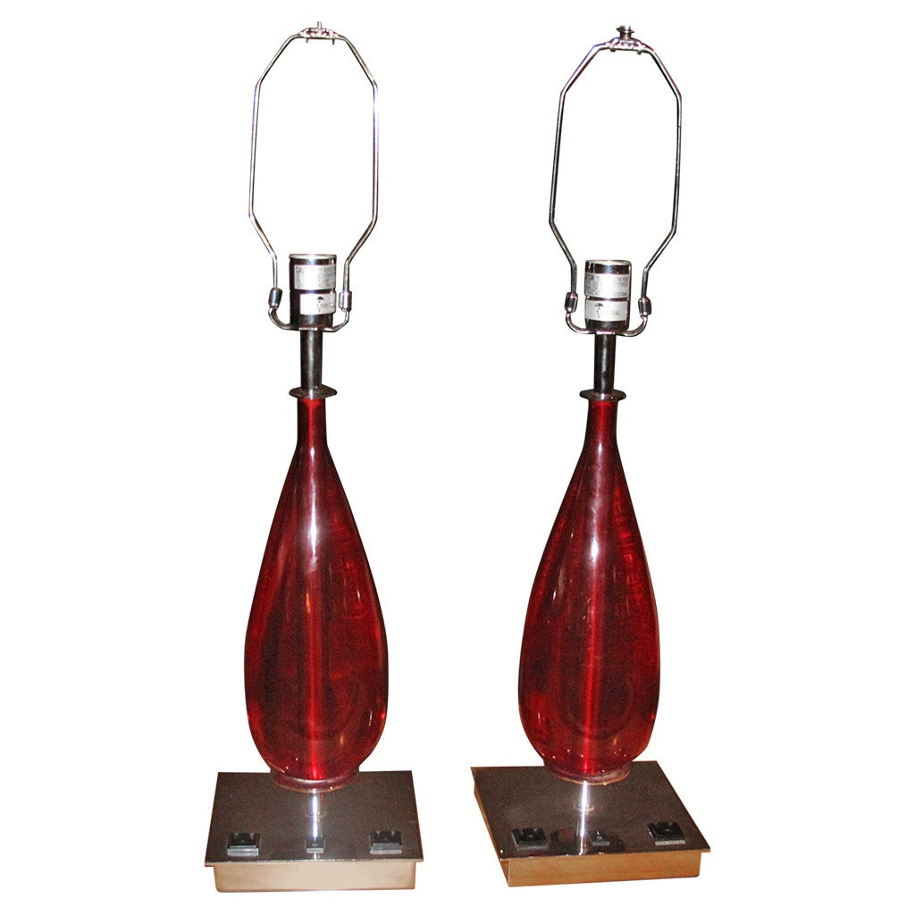 Pair Of Red Acrylic And Chrome Teardrop Form Table Lamps At 1stdibs