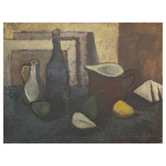 Danish Mid-Century Still Life of a Bottle, Pitchers and Pears
