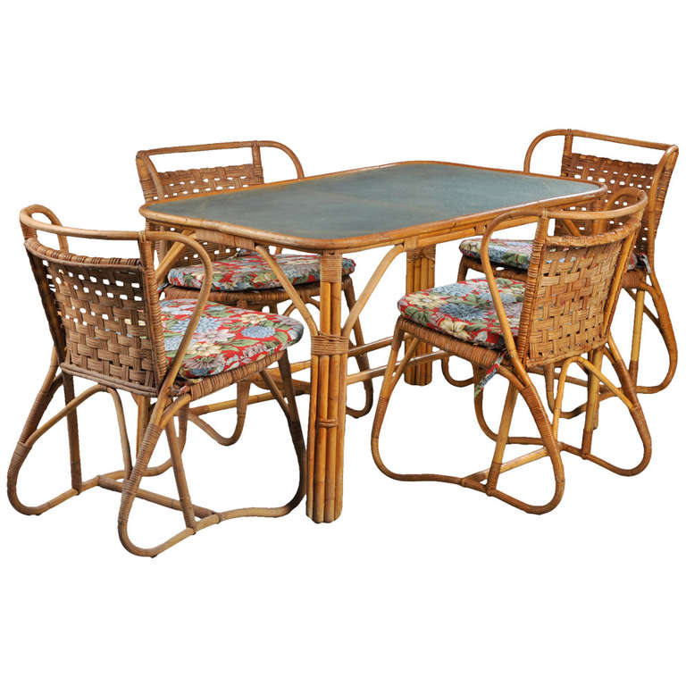 Danish 1940s 1950s Rattan Dining Set For Sale