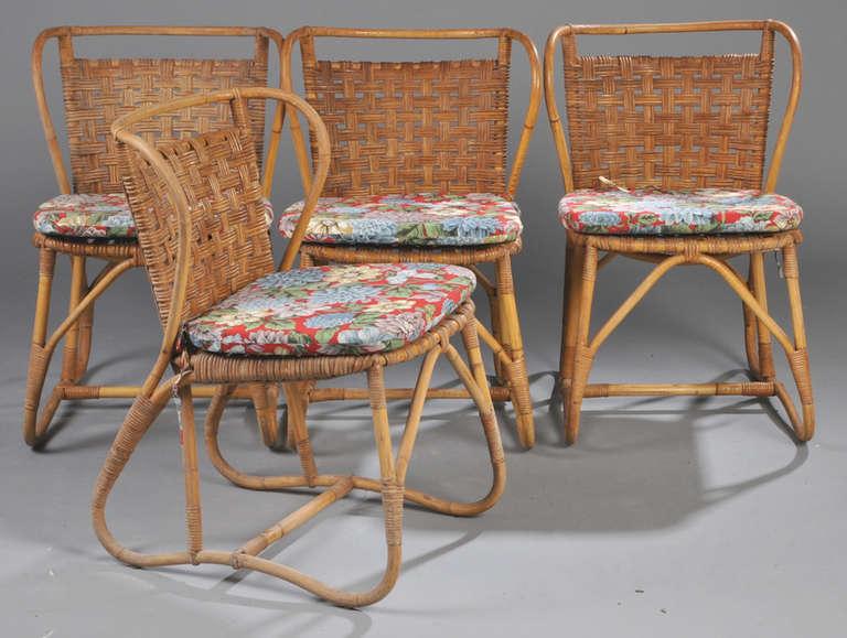Danish 1940s-1950s Rattan Dining Set 3