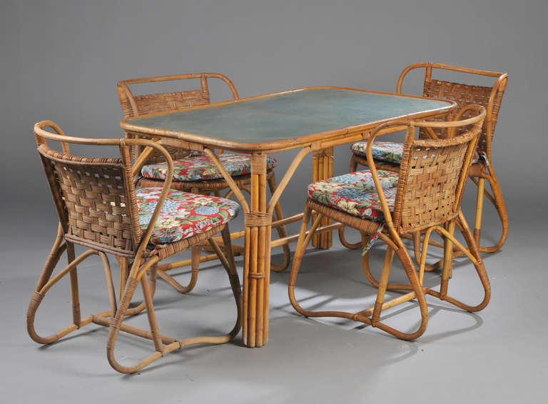 Danish 1940s-1950s Rattan Dining Set 2