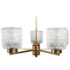 Five-Arm Brass and Pressed Glass Chandelier by Orrefors of Sweden