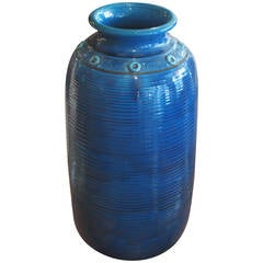 Large Blue Glazed Ceramic Vase by Kähler of Denmark