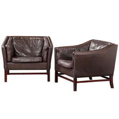 Pair of Large Danish Modern Leather Upholstered Armchairs by Grandt Design