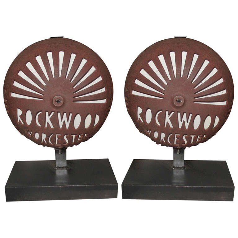 Pair of Antique Cast Iron Fire Alarm Covers by the Rockwood Company