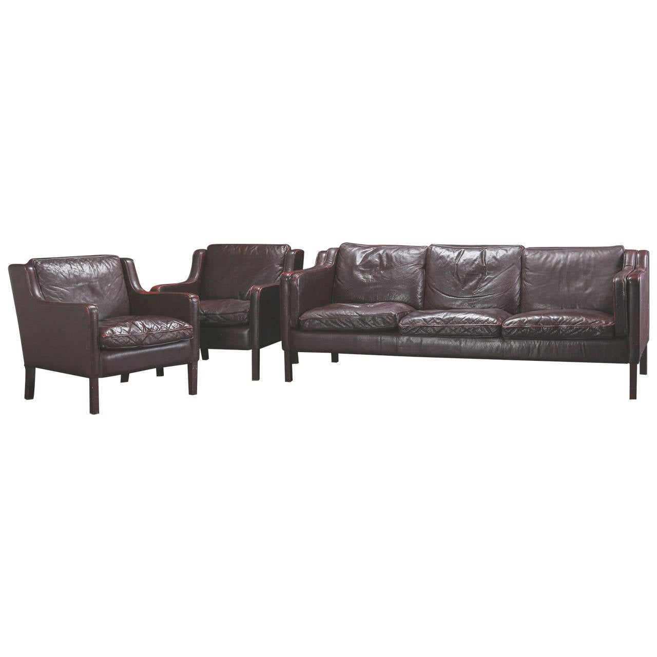 set of danish modern leather furniture consisting of two