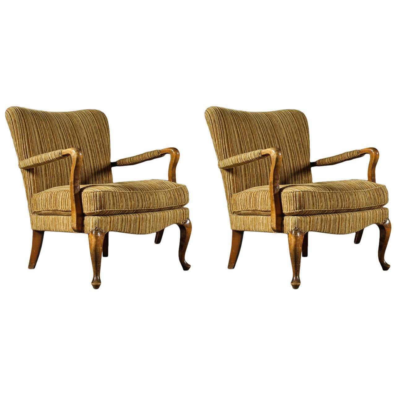 Pair of Danish 1940s Armchairs in the English Taste