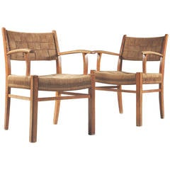 Pair of Danish 1950s Armchairs with Woven Backs and Seats