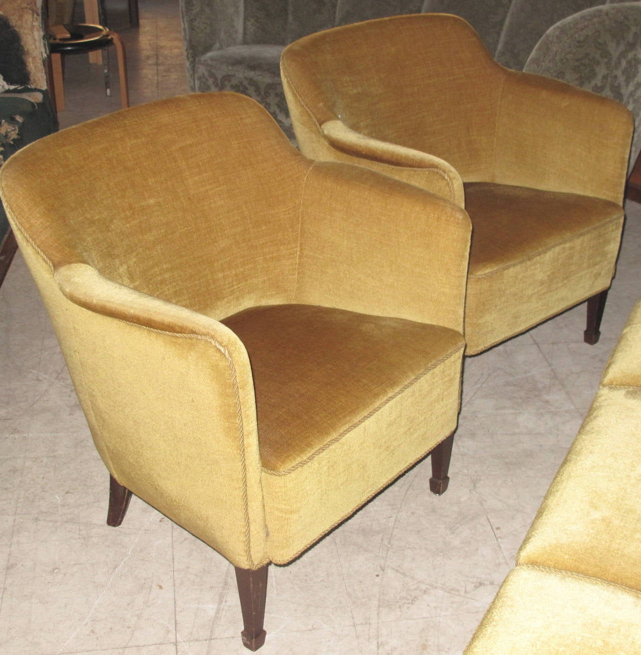 Danish 1940s Mohair Upholstered Three Seat Sofa And Pair Of Tub Chairs At 1stdibs