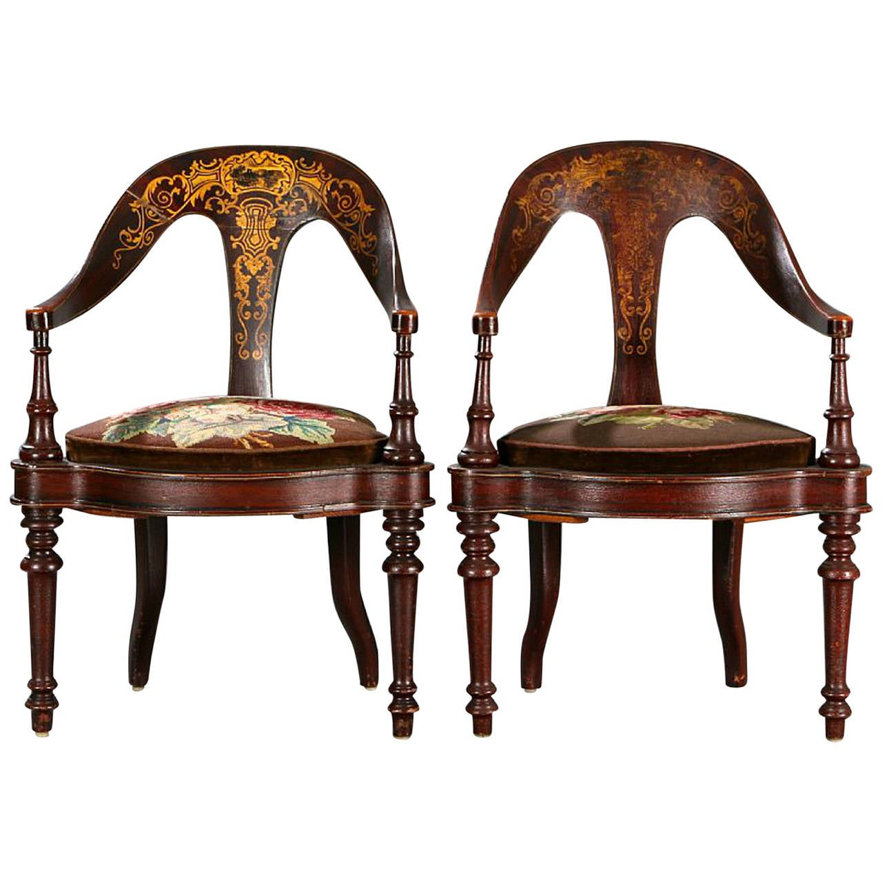 Pair of 19th Century Mahogany Spoon Back Chairs For Sale